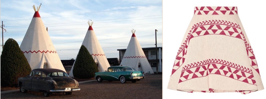 The Wigwam Motel in Holbrook, AZ paired with Maje's Jacky jacquard skirt.