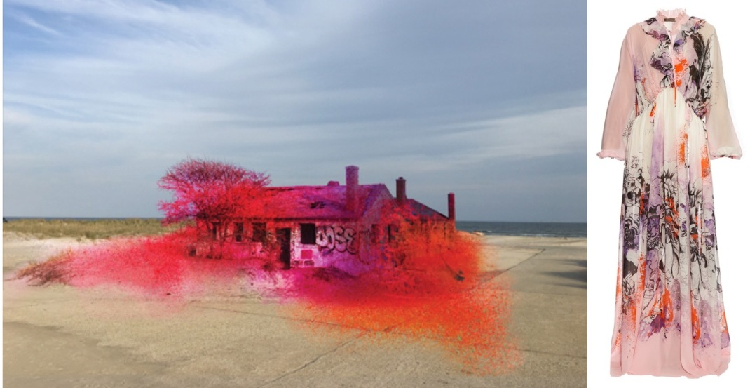 Katharina Grosse's temporary public art installation in the Rockaways paired with Roberto Cavalli's Kimono-print gown.